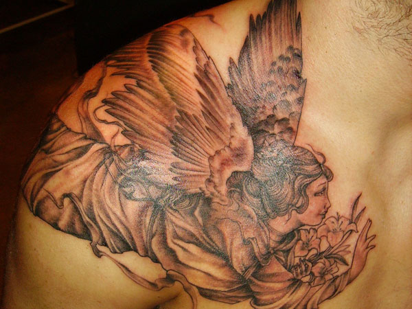 Monchromatic Angel Tattoo