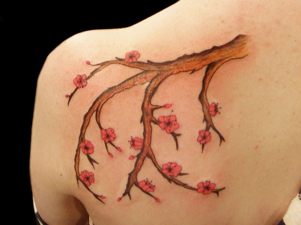 Female Flowering Branch Tattoo