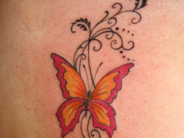 Butterfly Vines Tattoo Design