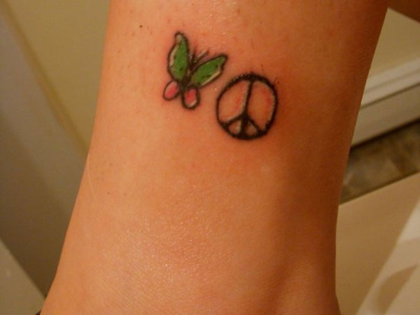 Peace Hope Butterfly Tattoo