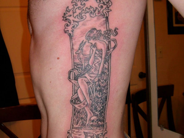 Death Maiden Rib Tattoo