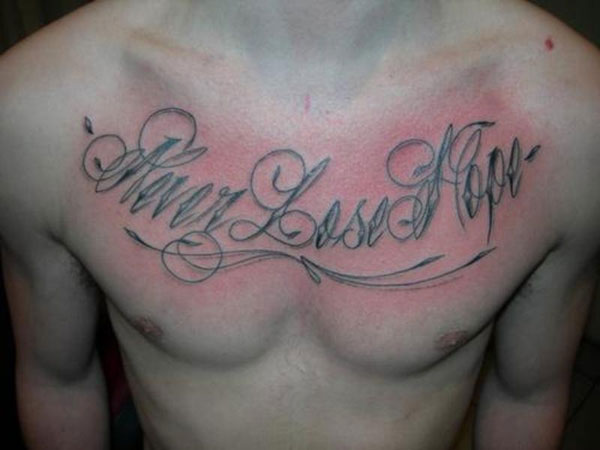 Flourishes Rounded Word Tattoo