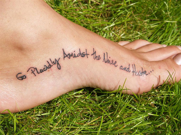 Foot Contours Word Tattoo