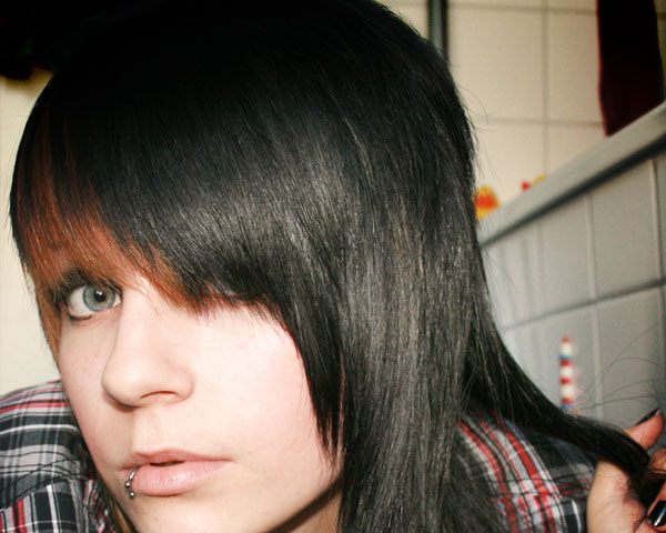 Slanted Bangs Medium Hairstyle