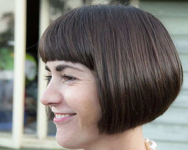 Reverse Bob Thick Bangs Hairstyle