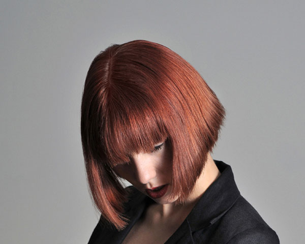 Short Reverse Bob With Bangs Hairstyle
