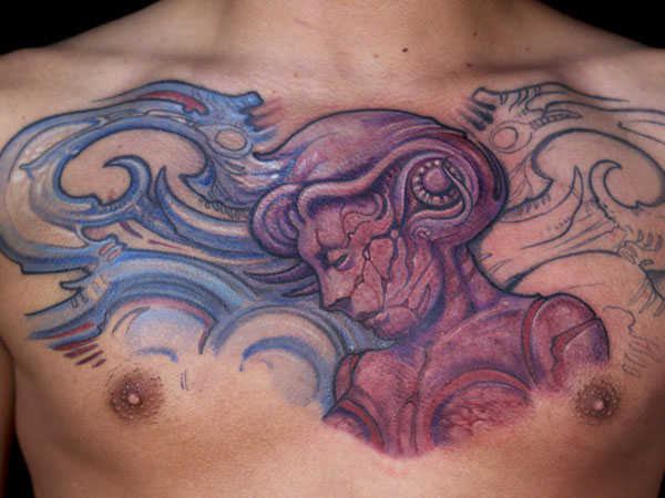 face 27 Strong Chest Tattoos For 2013