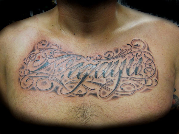 letter 27 Strong Chest Tattoos For 2013