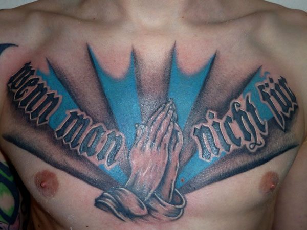 praying hands 27 Strong Chest Tattoos For 2013