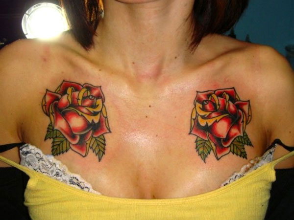 rose 27 Strong Chest Tattoos For 2013