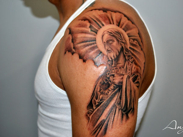 The intricate brown shading gives a rich look to this jesus forearm