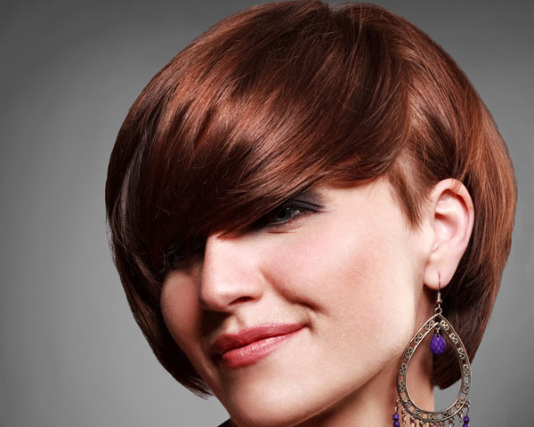 Short Hairstyle with Burgundy