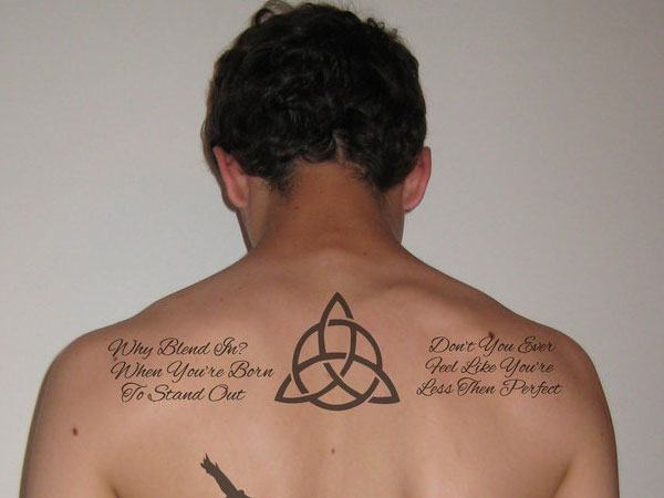7868e164e ... meaning in this upper back tattoo. Celtic Design & Quote