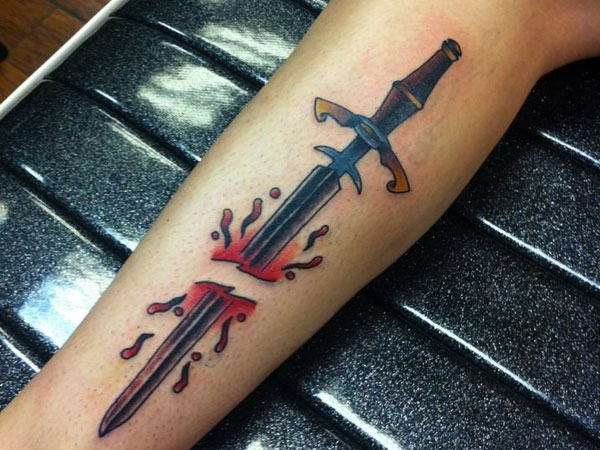 Leg Sword Tattoo