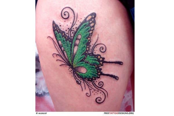 green butterly tattoo