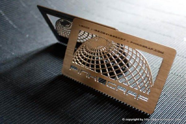 2 steel business cards + die cutting --- by pinkograf.com