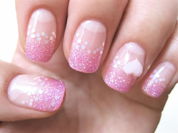 pink sparkles nails