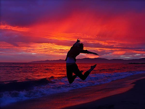 Jumping Person at Sunset
