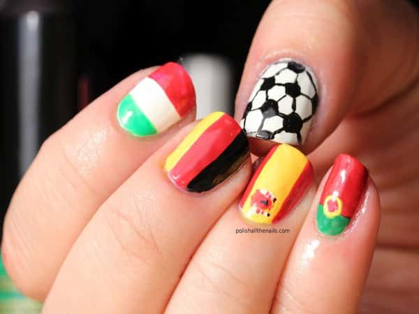 Soccer Nails Flags
