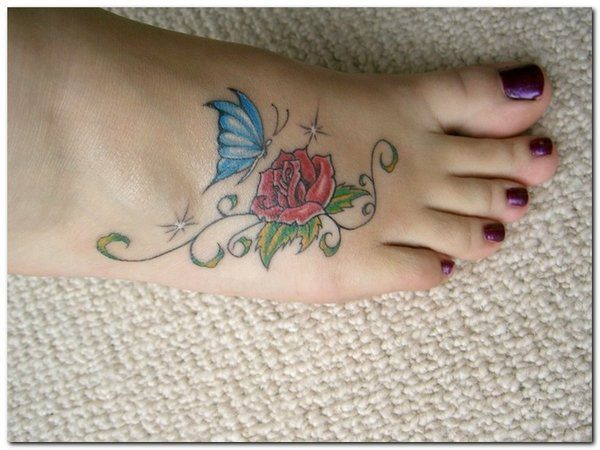 Red Rose Foot Tattoo with Blue Butterfly