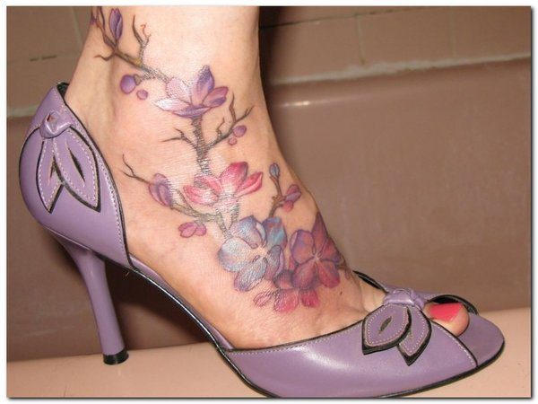 Purple and Pink Flowers with Buds Tattoo