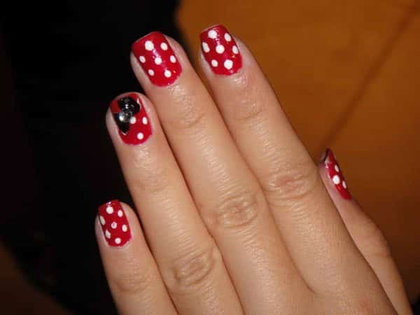Red with White Polka Dot Nails