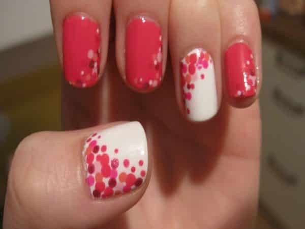 White and Pink Nails with Multicolored Polka Dots