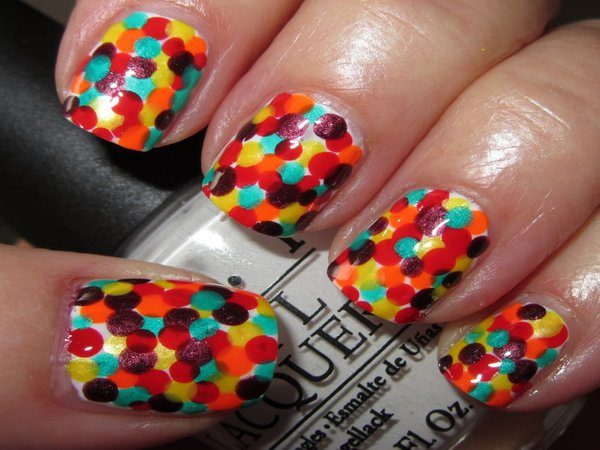 White Nails with Multicolored Polka Dots
