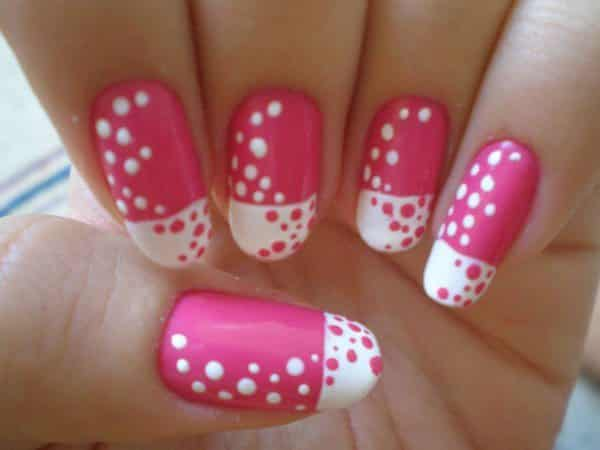 Pink Nails with White and Pink Polka Dots