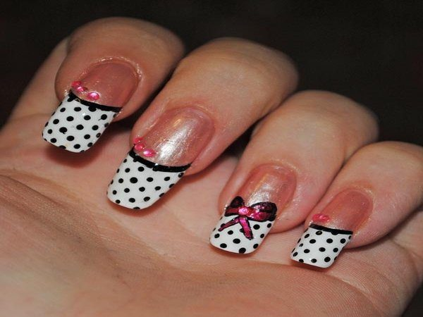 White Nails with Black Polka Dots