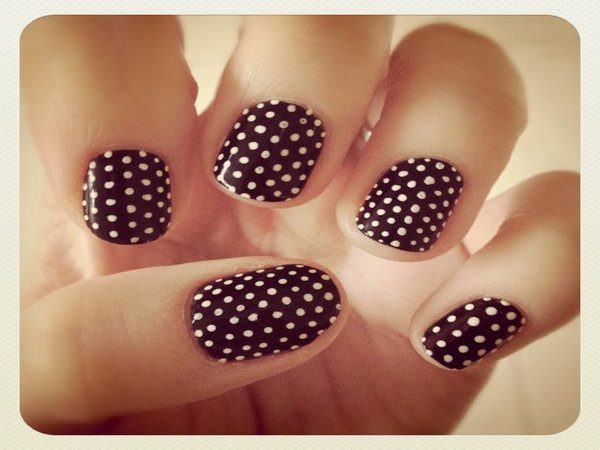 Brown Nails with Tiny White Polka Dots