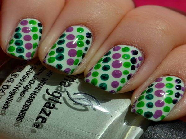 White Nails with Purple and Green Polka Dots
