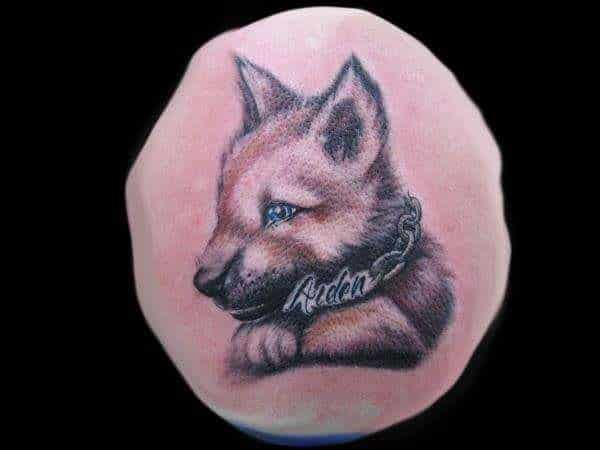 Puppy Portrait Tattoo with Blue Eyes and Name Tattoo