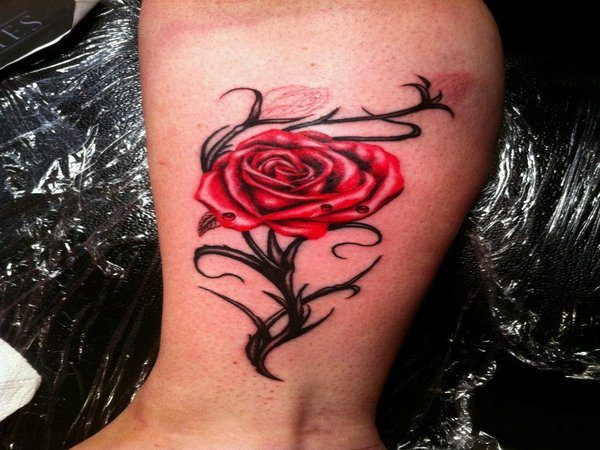 Rose and Budding Roses Leg Tattoo