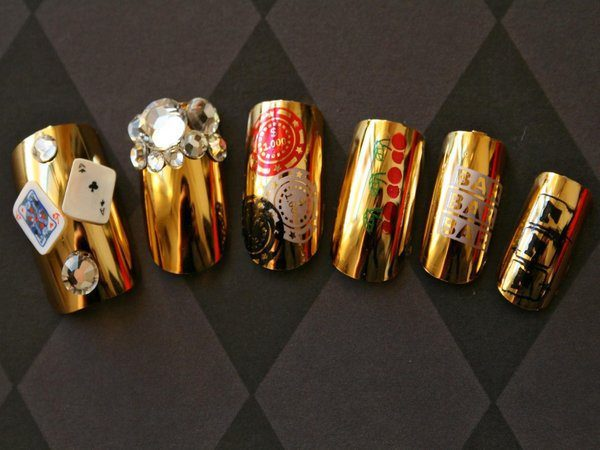 Gold Nail Tips with Rhinestones and Playing Cards