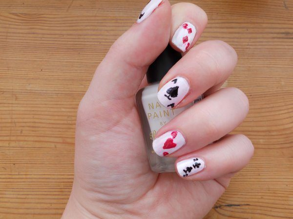 Playing Card Symbols on White Nails