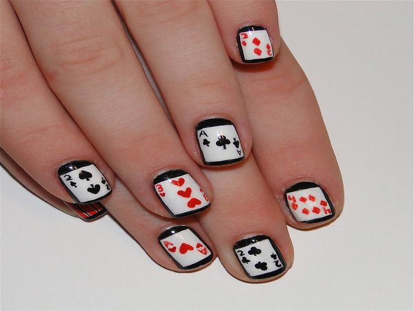 Black Nails with Black and Red Cards