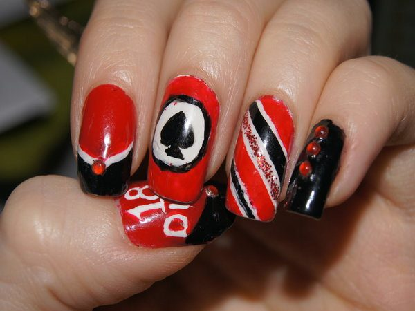 Red Nails with the Ace of Spades