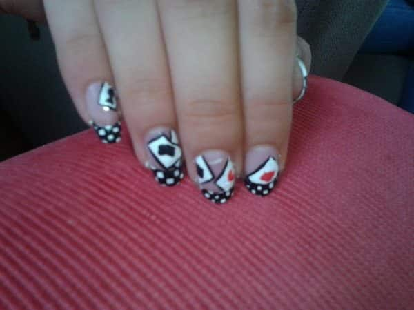Clear Nails with Black and White Checkers and Cards