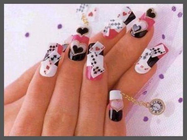 Black, White and Red Nails with Playing Cards and Hearts
