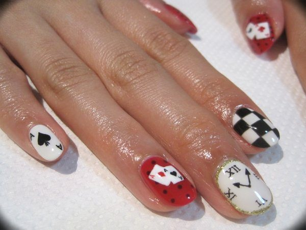Red and White Nails with Card Designs