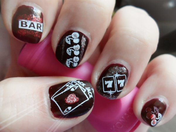 Blood Red Nails with Casino and Card Designs