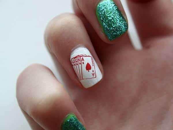 White and Green Glitter Nails with Fanned out Cards