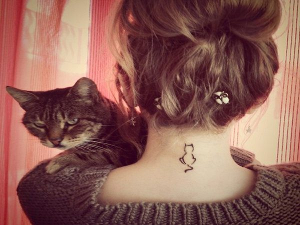 Tiny Kitty Silhouette Neck Tattoo