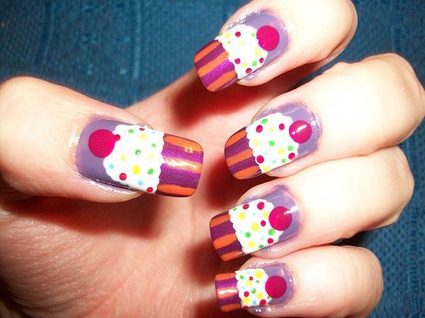 Purple Nails with Purple and Orange Striped Cupcakes