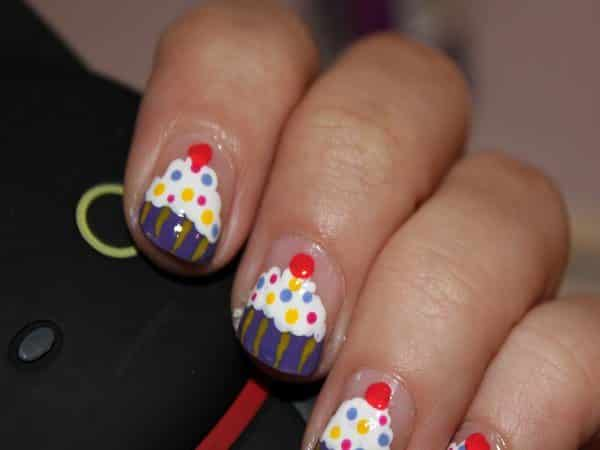 Clear Nails with Purple and Yellow Striped Cupcakes