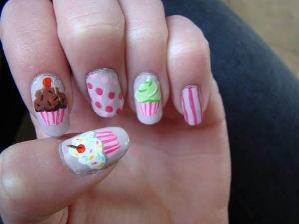 Grey Nails with Pink Polka Dots and Pink Striped Cupcakes