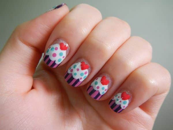 Clear Nails with Purple Striped Cupcakes