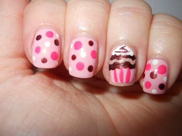 Pink Polka Dots Nails with Cupcake Design