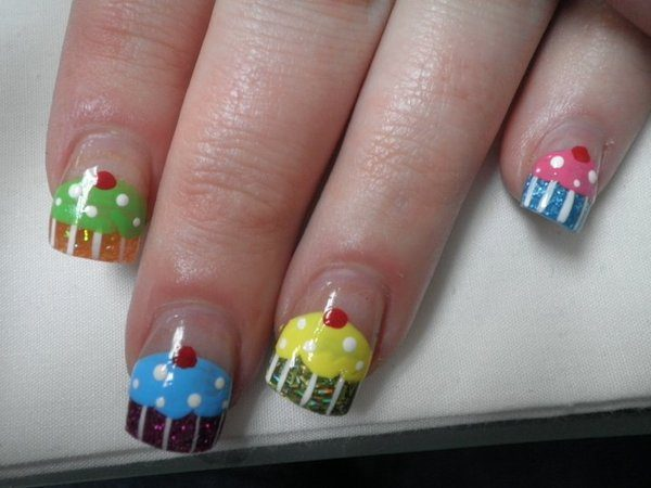 Multicolored Cupcake Nail Tips